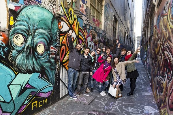EC English Melbourne students walking through the lanes that make Melbourne famous.