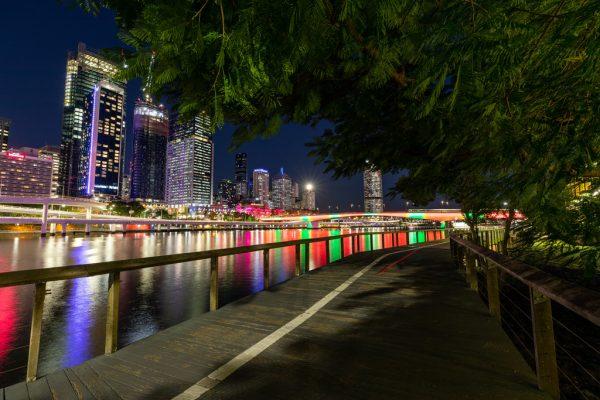 Walking from EC Brisbane by night