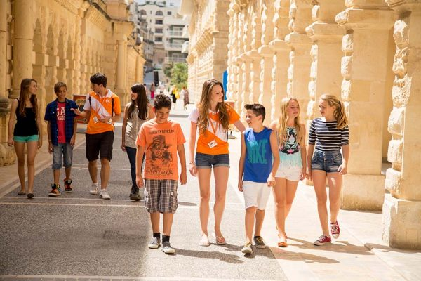 Young learner students exploring the cities of Malta with their EC leaders.