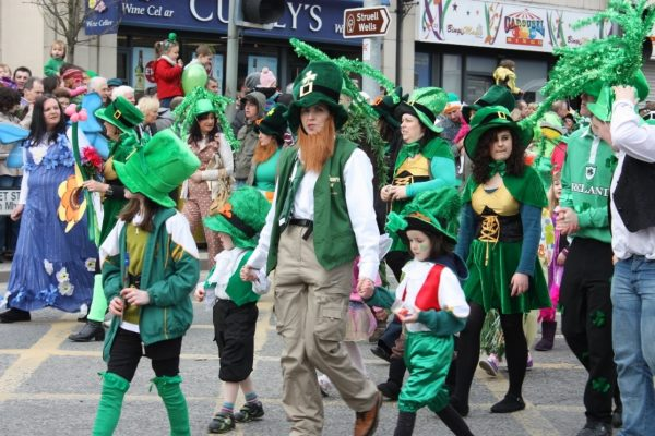 People walking on Saint Patrick's day