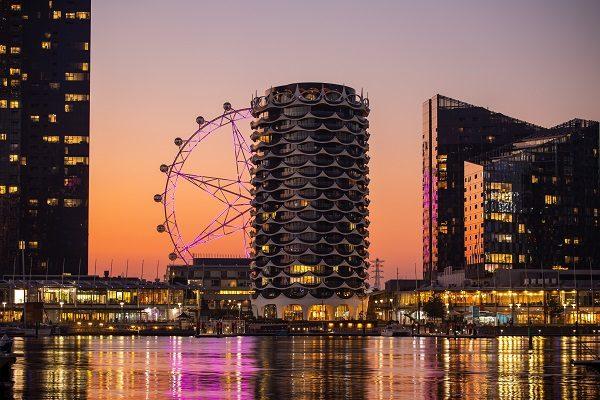 Vista de Melbourne en el atardecer