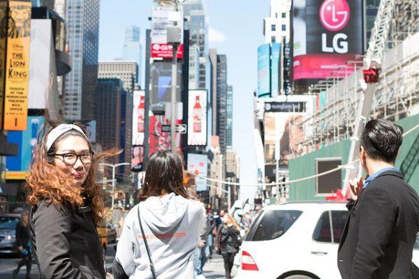 Estudiante en el Times Square