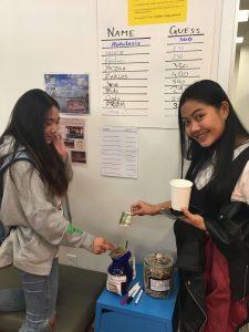 EC Washington English Language Center students donate and write their guess!