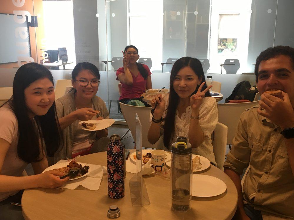 Students enjoy a potluck