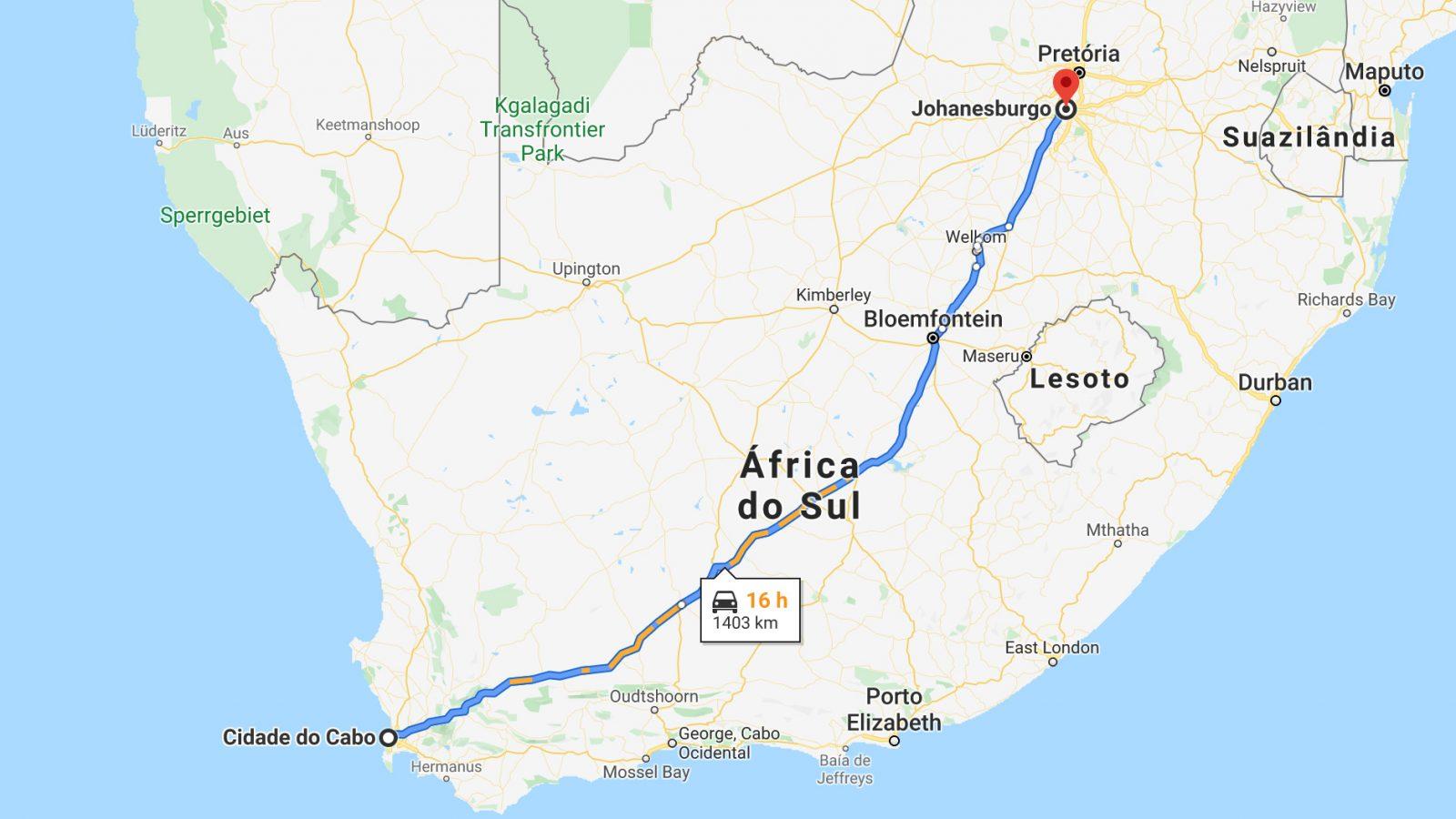 Mapa do trajeto da Cidade do Cabo a Joanesburgo, África do Sul