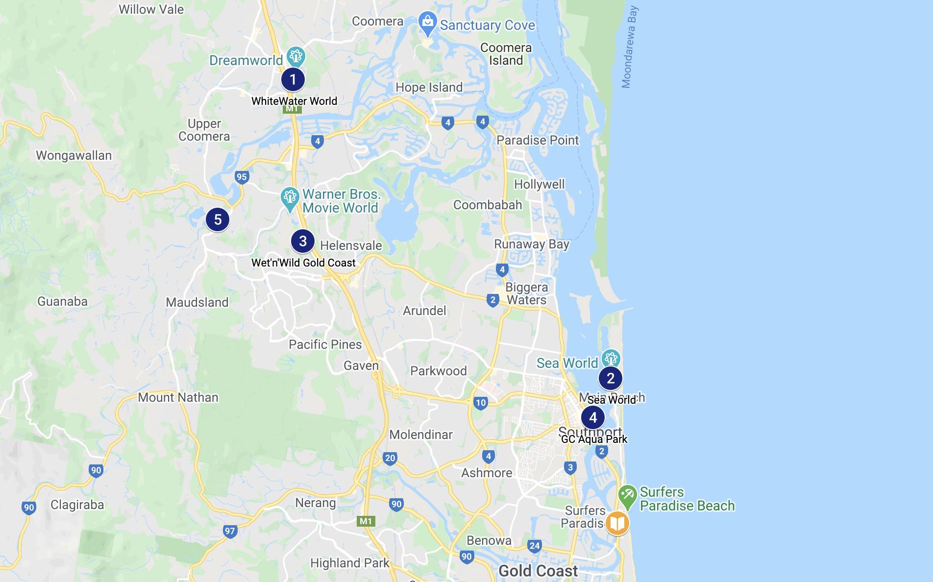 Mapa dos Parques Aquáticos de Gold Coast, Austrália